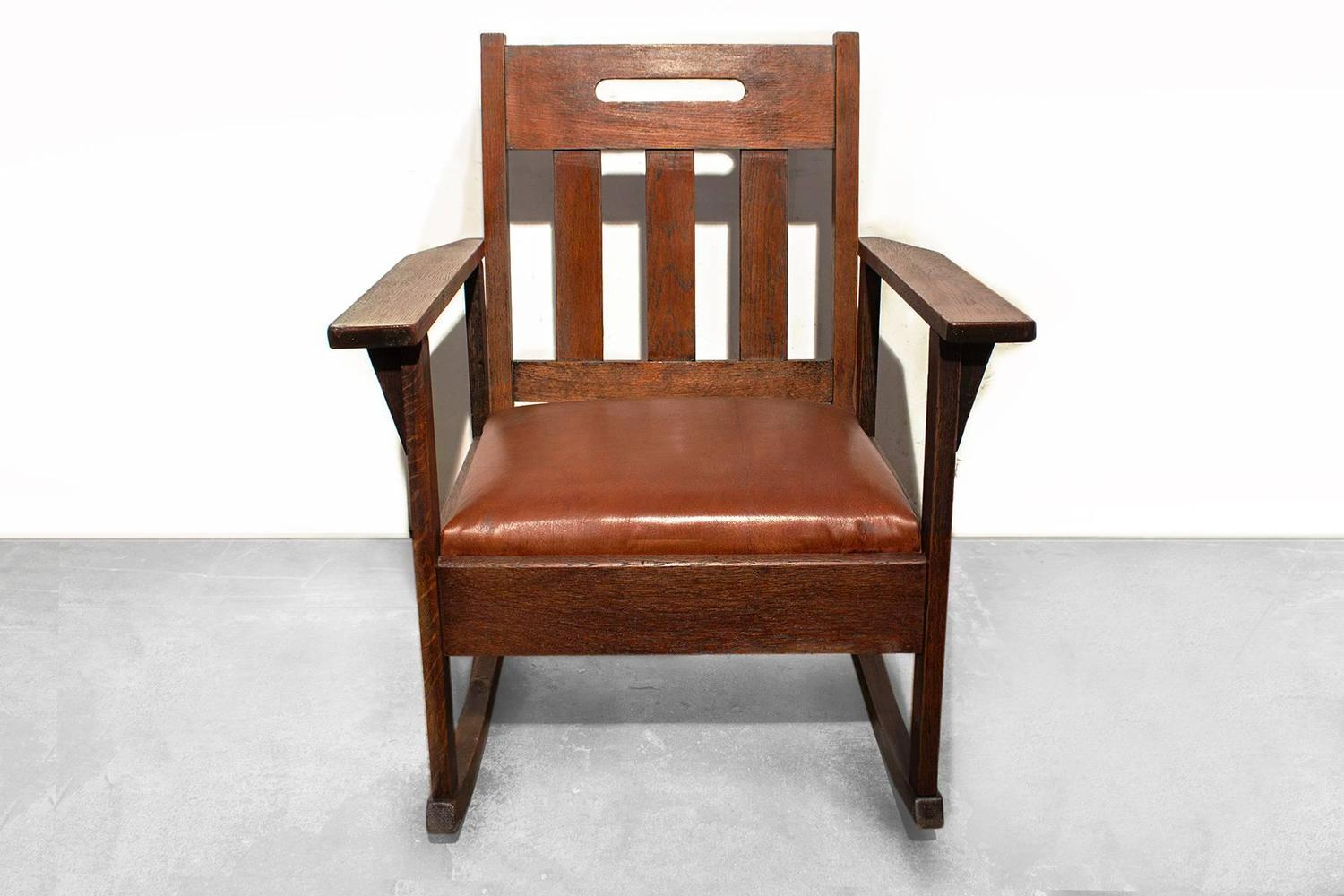 brown leather rocking chair cast iron table and chairs stickley style with circa