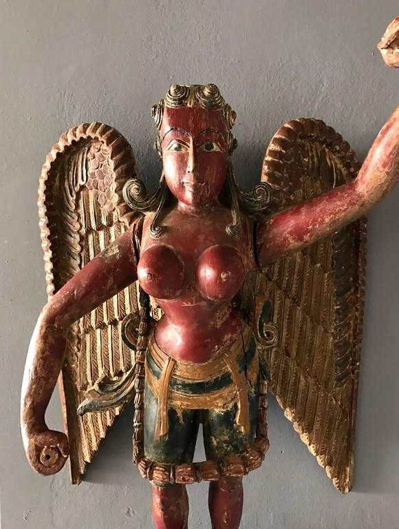 Antique Statue of a Winged Hindu Female Deity For Sale at 1stdibs