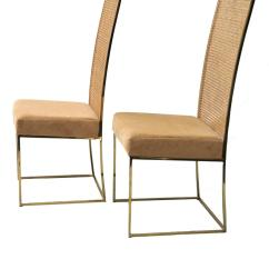 Cane Dining Chairs For Sale Armless Lounge Chair Uk Four Milo Baughman Thayer Coggin Brass Tone Back