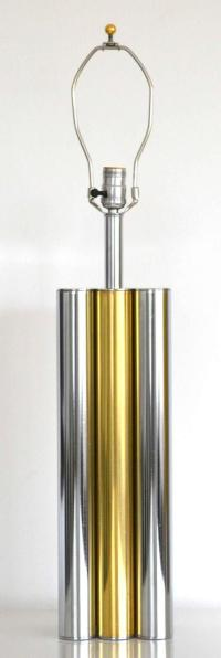 Mid-Century Chrome and Brass Table Lamp For Sale at 1stdibs