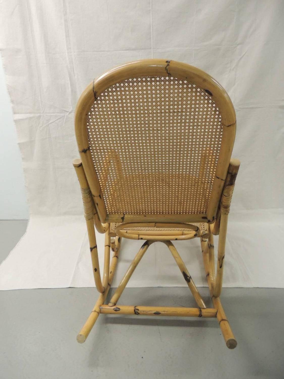 woven rocking chair grey louis vintage bamboo and wicker armed for sale at