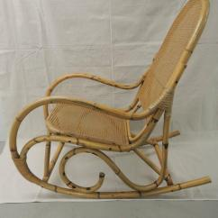 Vintage Wicker Rocking Chair Recliner Contemporary Design Bamboo And Armed For Sale At