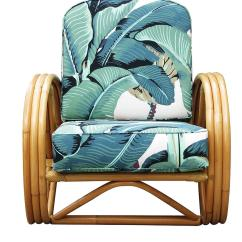 Round Bamboo Chair Rental Chairs Houston 3 4 Pretzel Rattan Lounge With Beverly Palms
