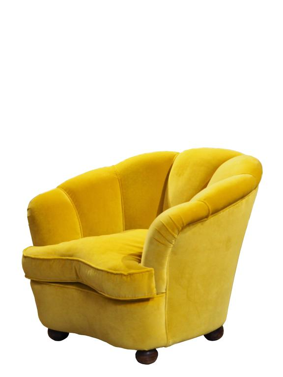 upholstered slipper chair revolving armchair pair of golden yellow velvet armchairs, attributed to guglielmo ulrich at 1stdibs