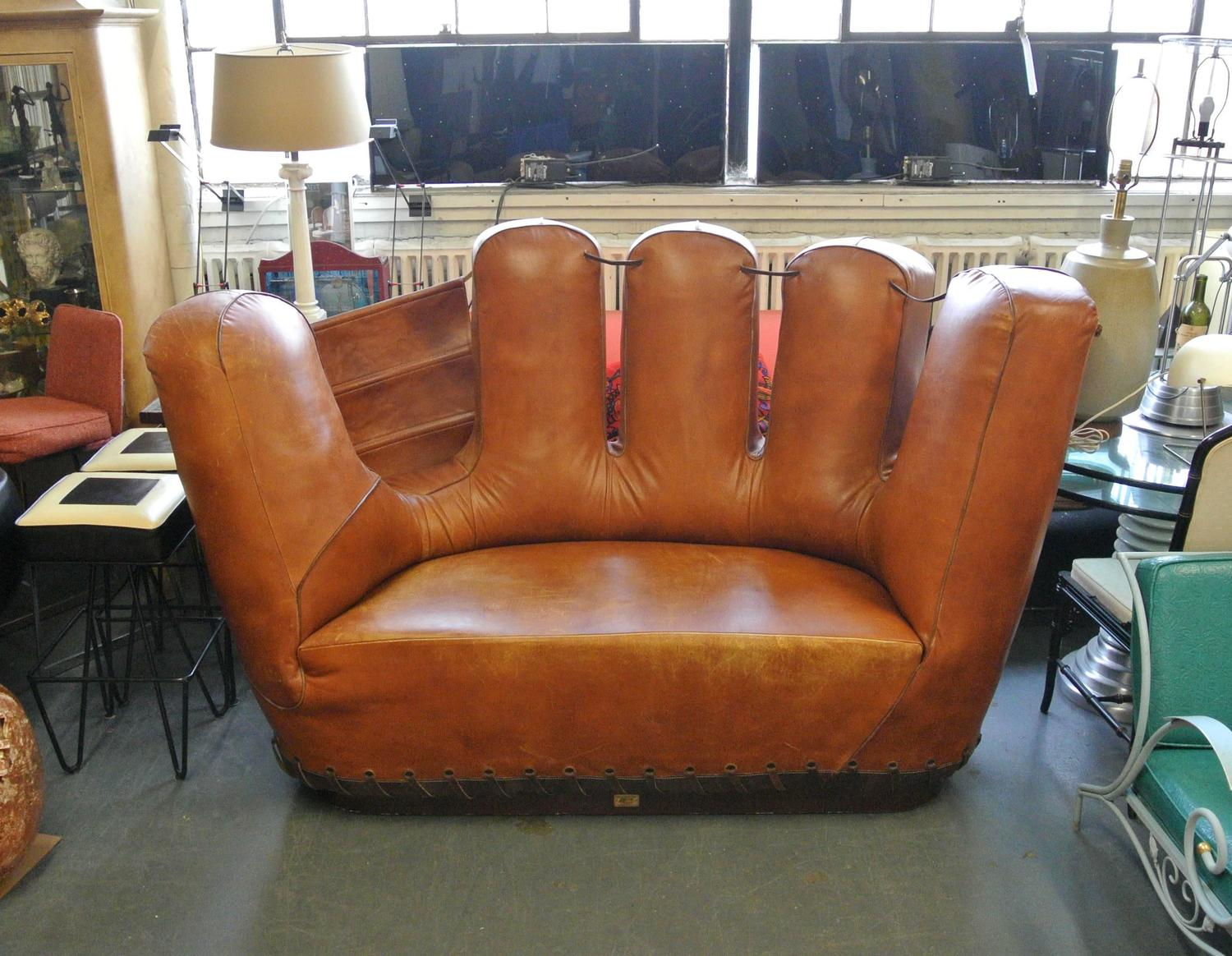 baseball glove chair home goods zero gravity swing stiles brothers leather sofa image 2