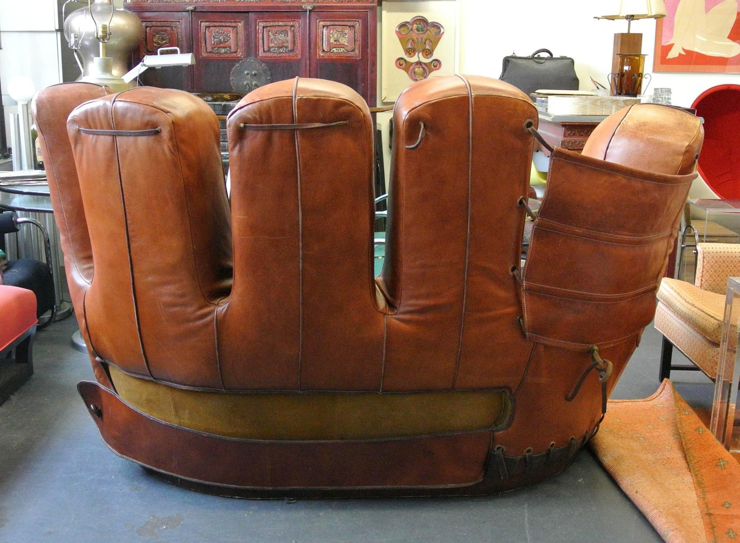 baseball glove chair home goods graco duodiner lx high stiles brothers leather sofa at 1stdibs