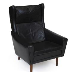 Black Leather Wingback Chair Caning Repair Mid Century Danish For Sale