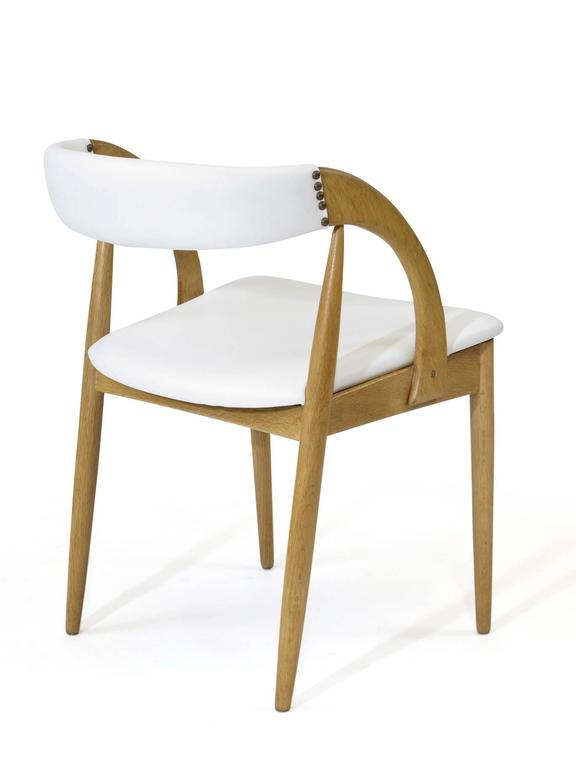 white leather chairs dining best folding pair of danish oak in at 1stdibs 20th century for sale
