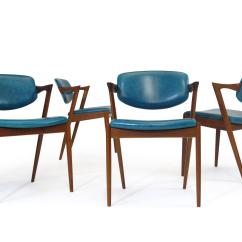 Turquoise Chairs Leather Webbed Lawn Six Kai Kristiansen Teak Danish Dining In