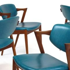 Turquoise Chairs Leather Nailhead Dining Room Six Kai Kristiansen Teak Danish In