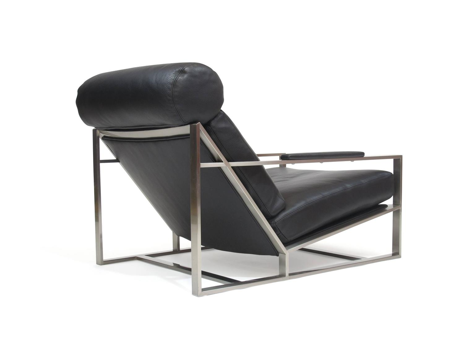 steel lounge chair gold wing back chairs milo baughman for thayer coggin in