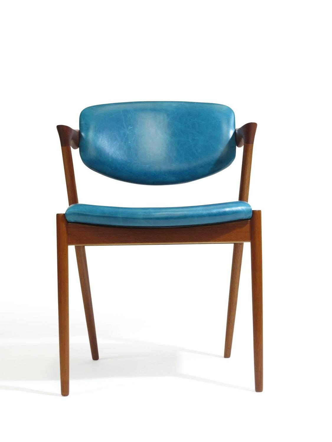 Turquoise Leather Chair Six Kai Kristiansen Teak Danish Dining Chairs In Turquoise