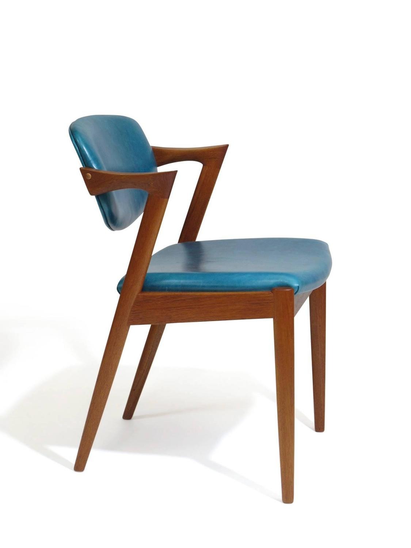 turquoise chairs leather blue accent australia six kai kristiansen teak danish dining in