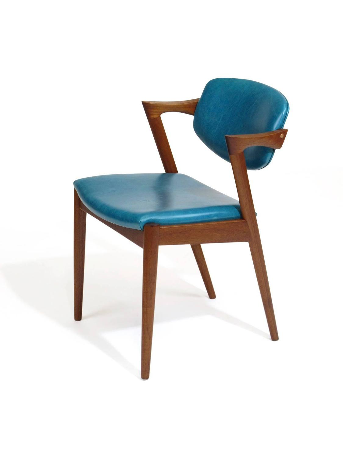 Aqua Dining Chairs Six Kai Kristiansen Teak Danish Dining Chairs In Turquoise