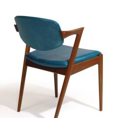 Turquoise Chairs Leather Gray Chair Six Kai Kristiansen Teak Danish Dining In