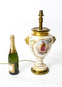 Antique French Hand-Painted and Gilt Porcelain Lamp, circa ...