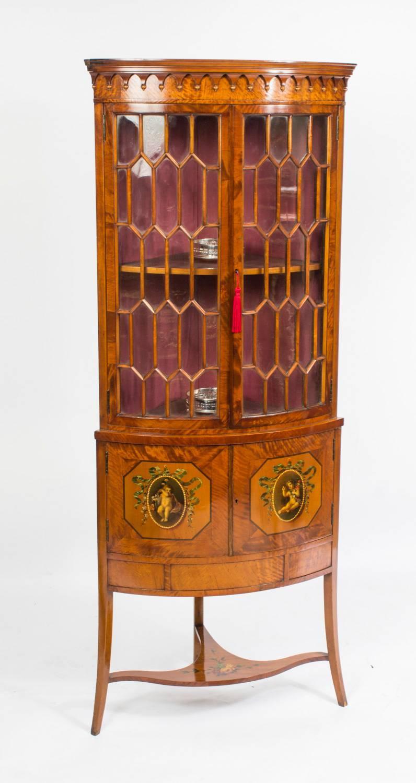 Antique English Edwardian Satinwood Corner Display Cabinet