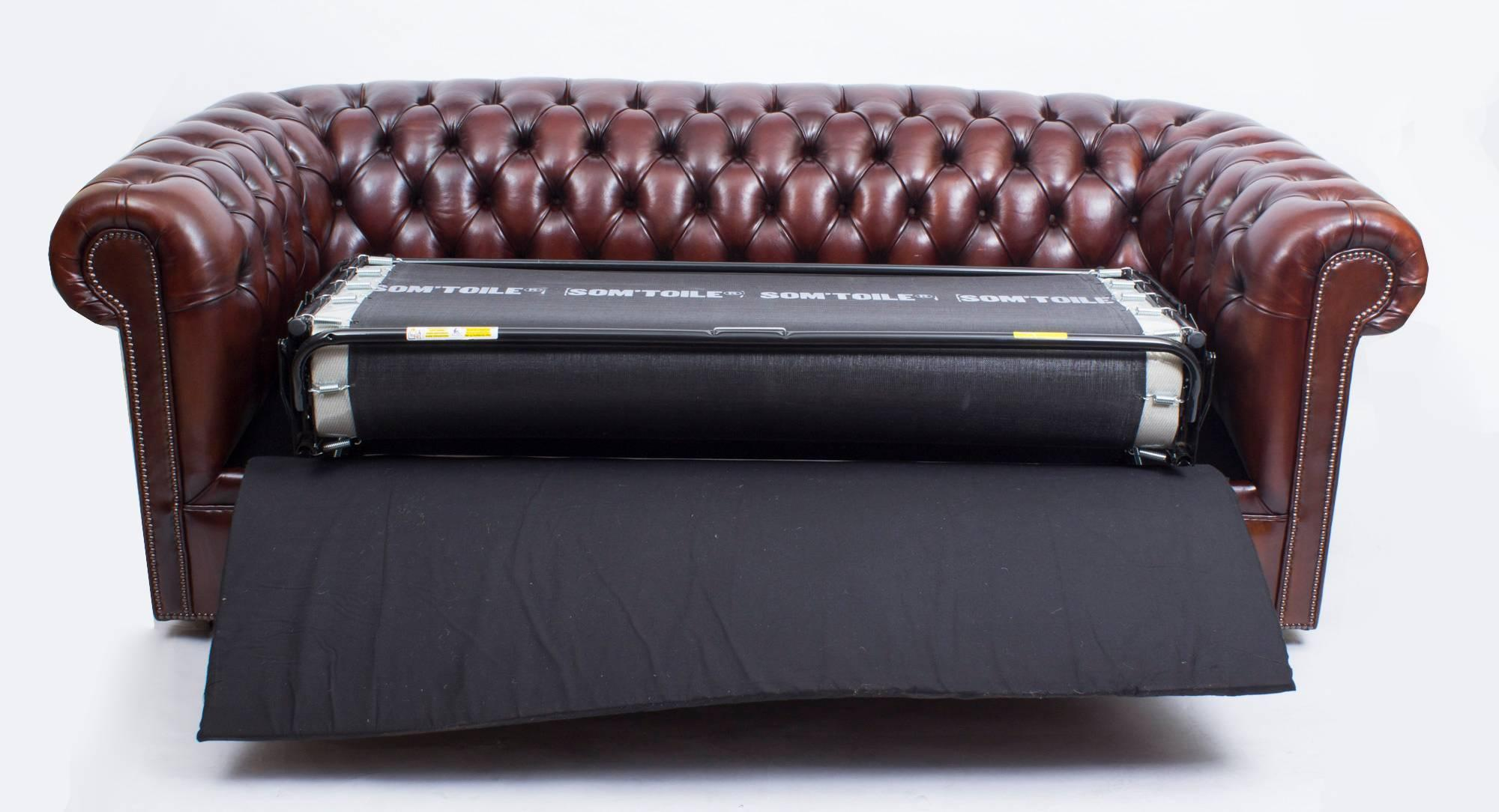 chesterfield sofa bed lodge bespoke english leather bbo for sale at 1stdibs 1