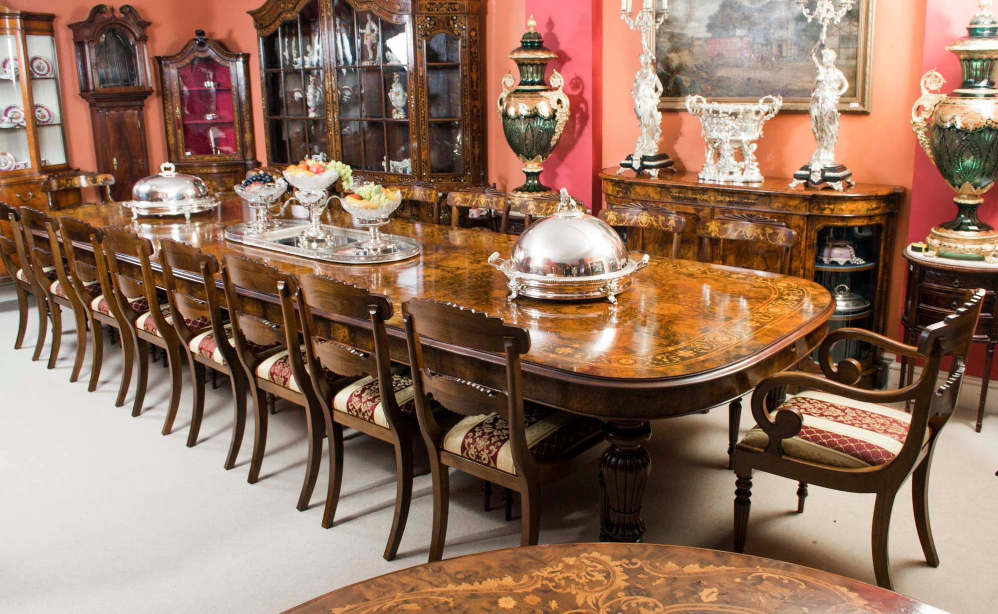 chairs for kitchen table price pfister treviso faucet huge bespoke handmade marquetry walnut extending dining 18 sale at 1stdibs