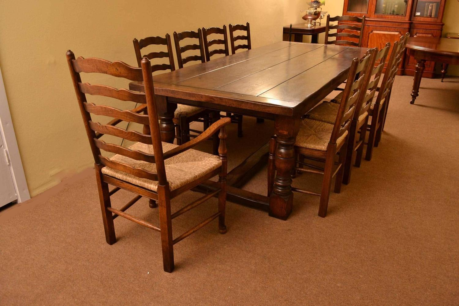solid oak dining table and chairs office chair mat for laminate floor bespoke refectory ten