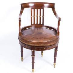Revolving Desk Chair Overstuffed And Ottoman Antique French Empire Circa 1870 At
