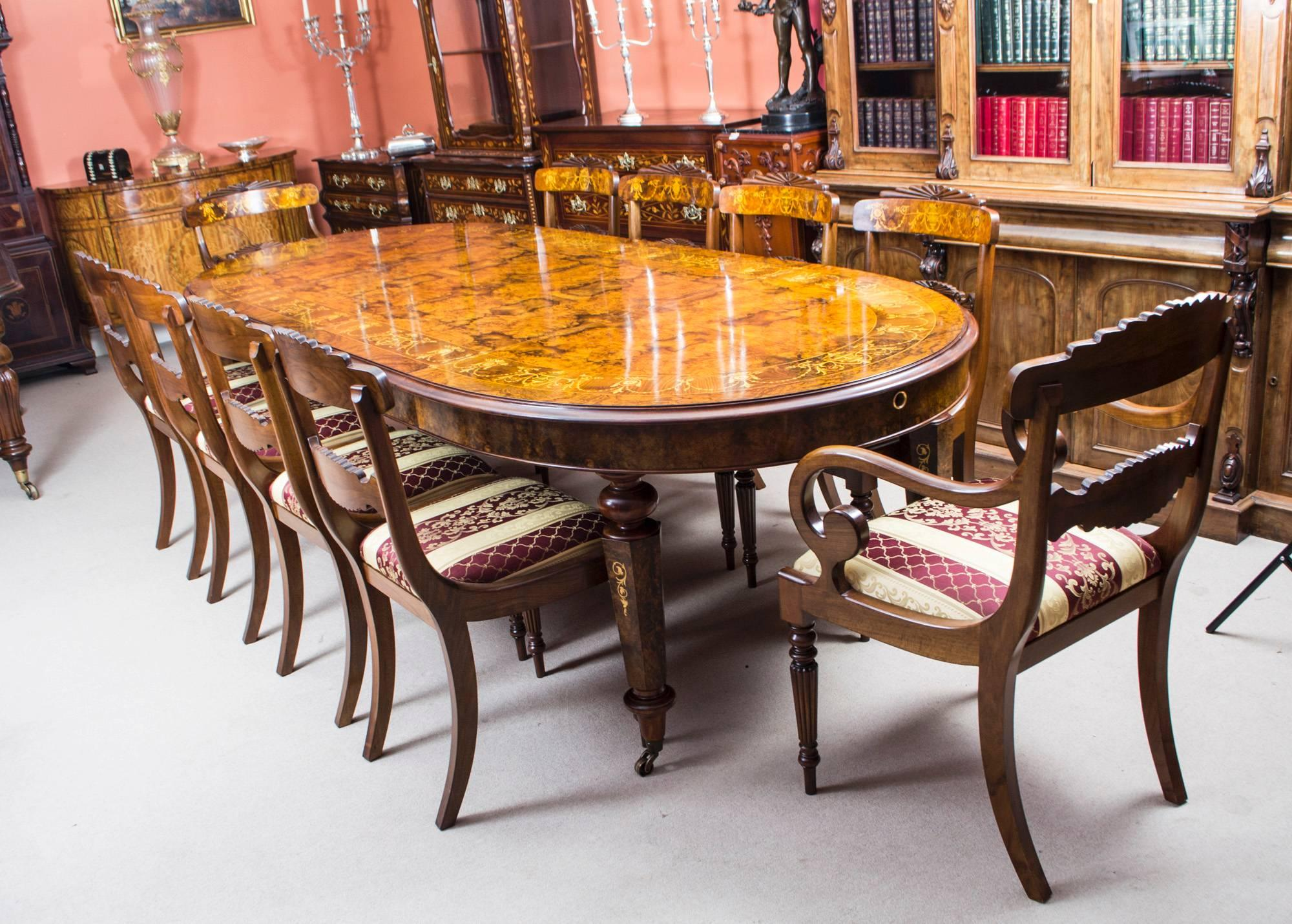 10 chair dining table set best and chairs for toddlers stunning bespoke handmade burr walnut marquetry sale at 1stdibs