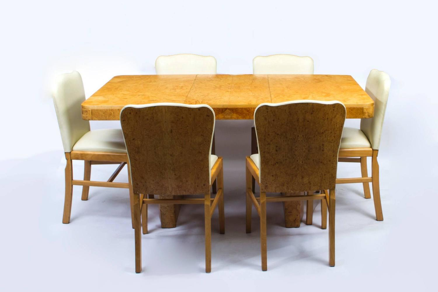 maple dining room chairs leather chair metal frame antique art deco bird 39s eye table and six