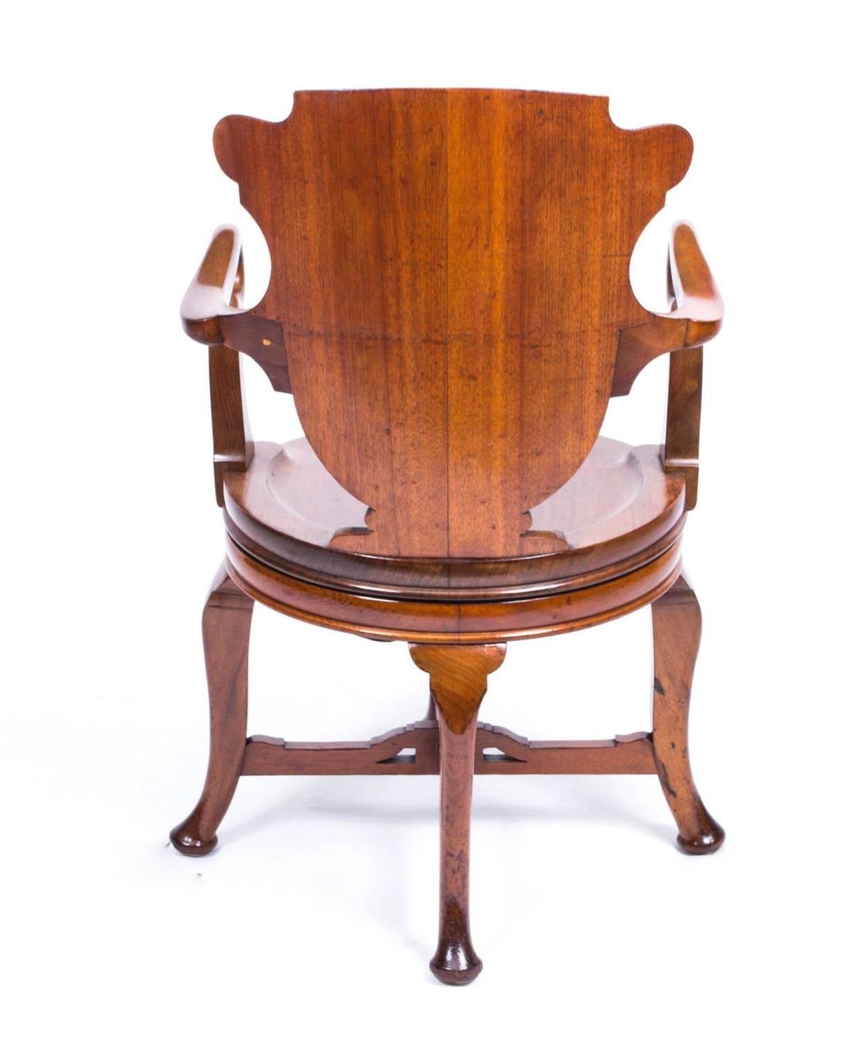 revolving desk chair diy removable covers antique edwardian walnut circa 1880