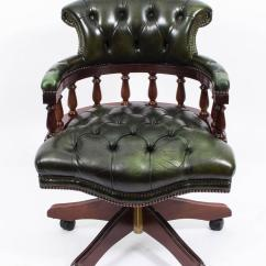 Captains Chair Exercise 2 White Wood Folding Chairs English Handmade Leather Desk Green For