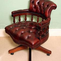 Antique Leather Swivel Desk Chair Ikea Arm English Handmade Captains Ox Blood For Sale At 1stdibs