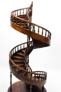 Vintage Mahogany Architectural Model Spiral Staircase at ...
