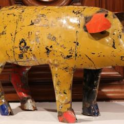 Tall Kitchen Cabinets Gel Mat Large Vintage French Painted Tole Pig Made With Old ...