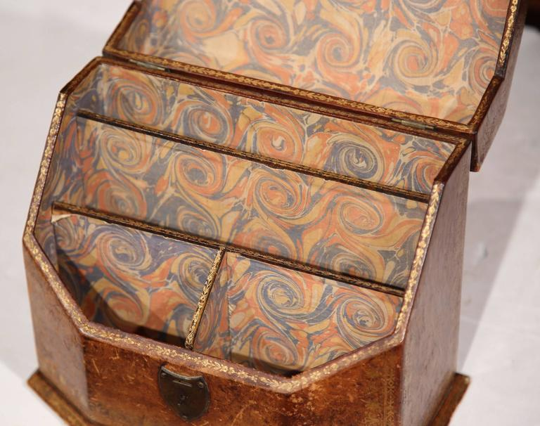 19th Century French Letter Holder in Leather with Tooling