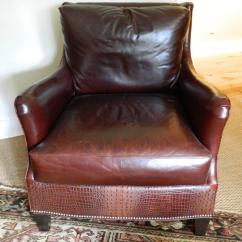 Ferguson Copeland Leather Sofa Hickory Chair Silhouettes Set Of Three Chairs Including An Ottoman Late