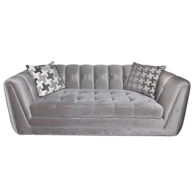Tufted Deco Glam Sofa Upholstered In Stark Fabric At 1stdibs