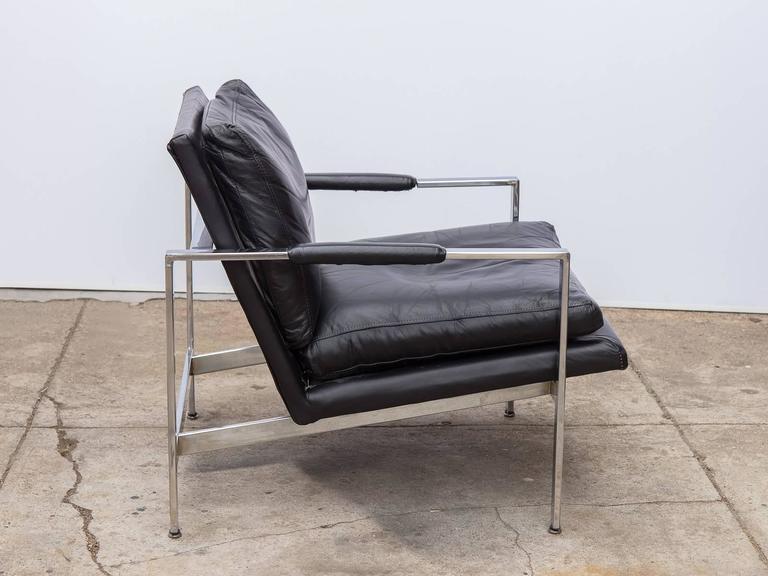 leather chrome chair sleep recliner milo baughman at 1stdibs mid century modern for sale