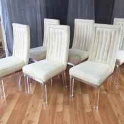 Acrylic Chair Legs Upholstered Armless Six Piece Set Of Charles Hollis Jones Lucite Leg Dining