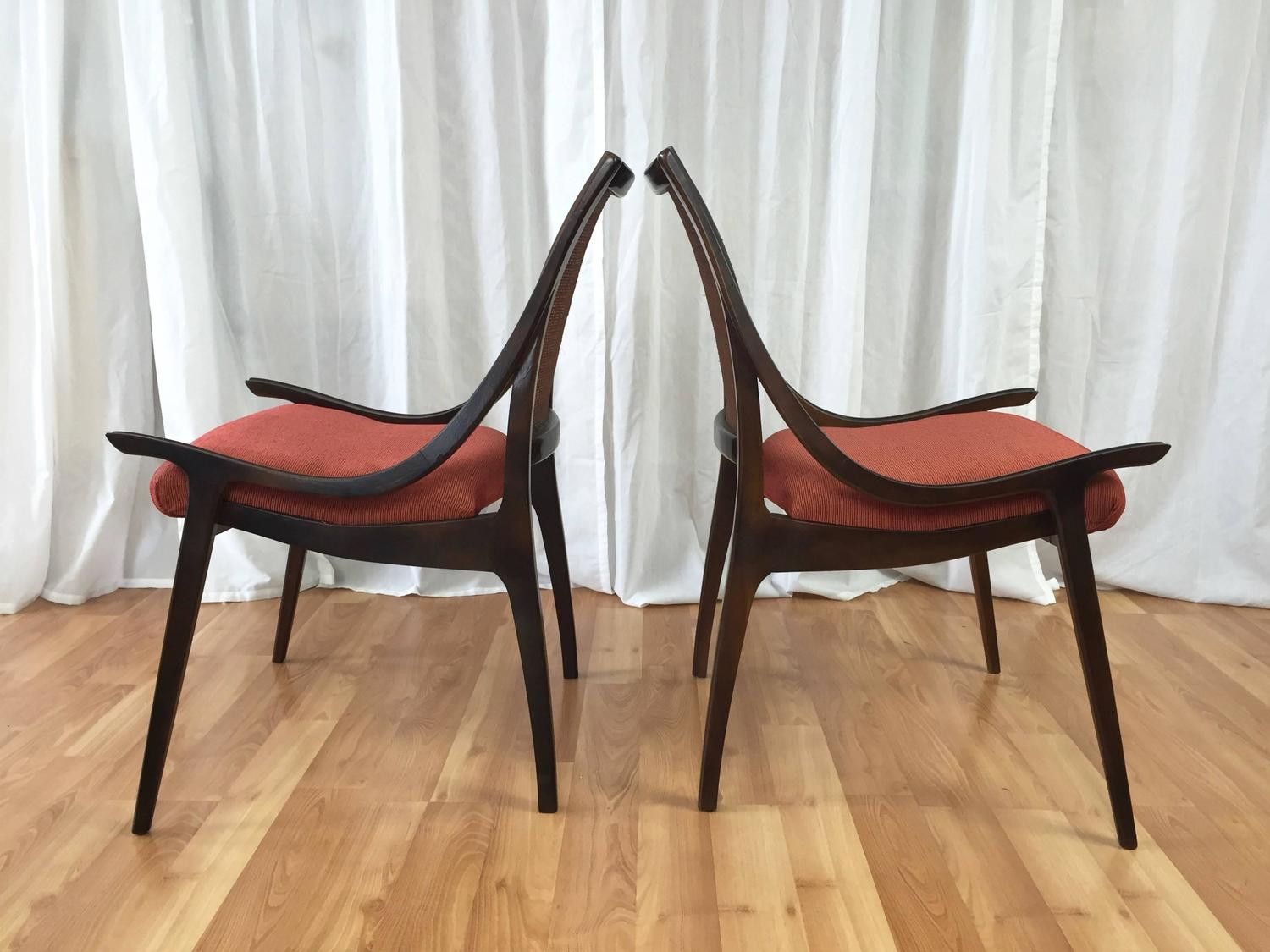 cane back chairs for sale beach chair toppers four walnut dining by richard thompson