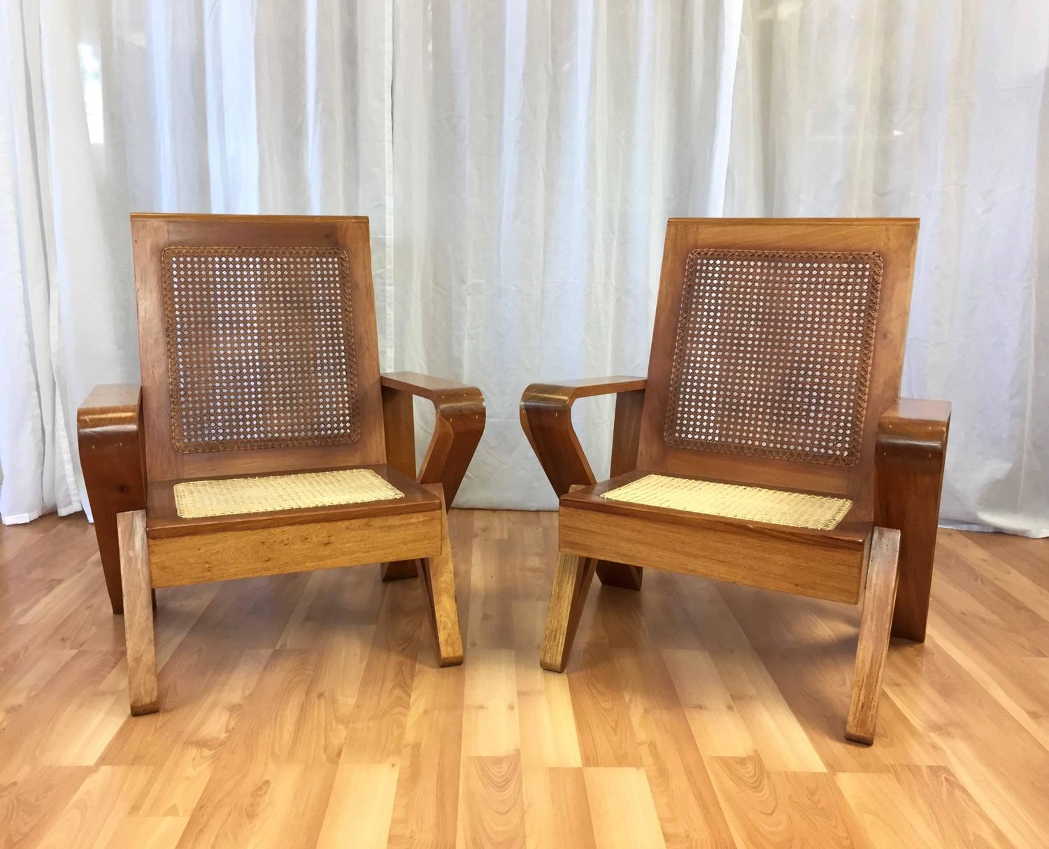 Hawaiian Chair Uncommon Pair Of Hawaiian Koa Wood And Woven Cane Lounge