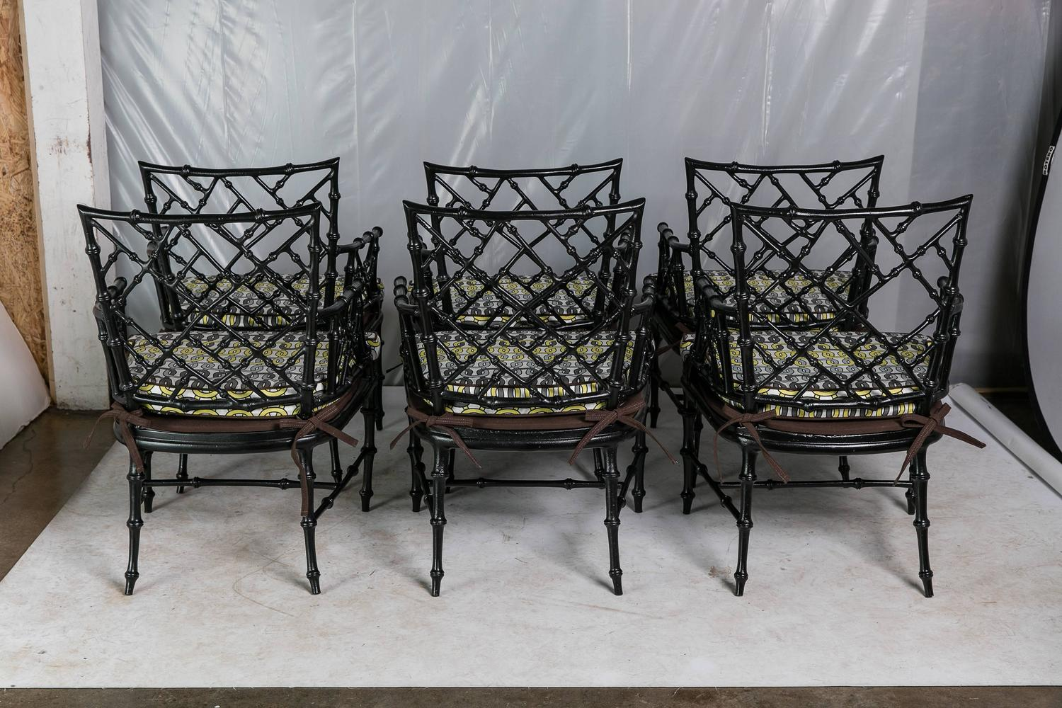 Faux Bamboo Metal Patio Chairs Set of Six For Sale at 1stdibs
