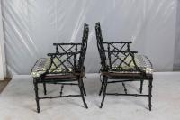 Faux Bamboo Metal Patio Chairs, Set of Six at 1stdibs