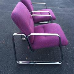 Vintage Steelcase Chair Hanging Ceiling Hook Pair Of Chrome Chairs In Violet For Sale At 1stdibs