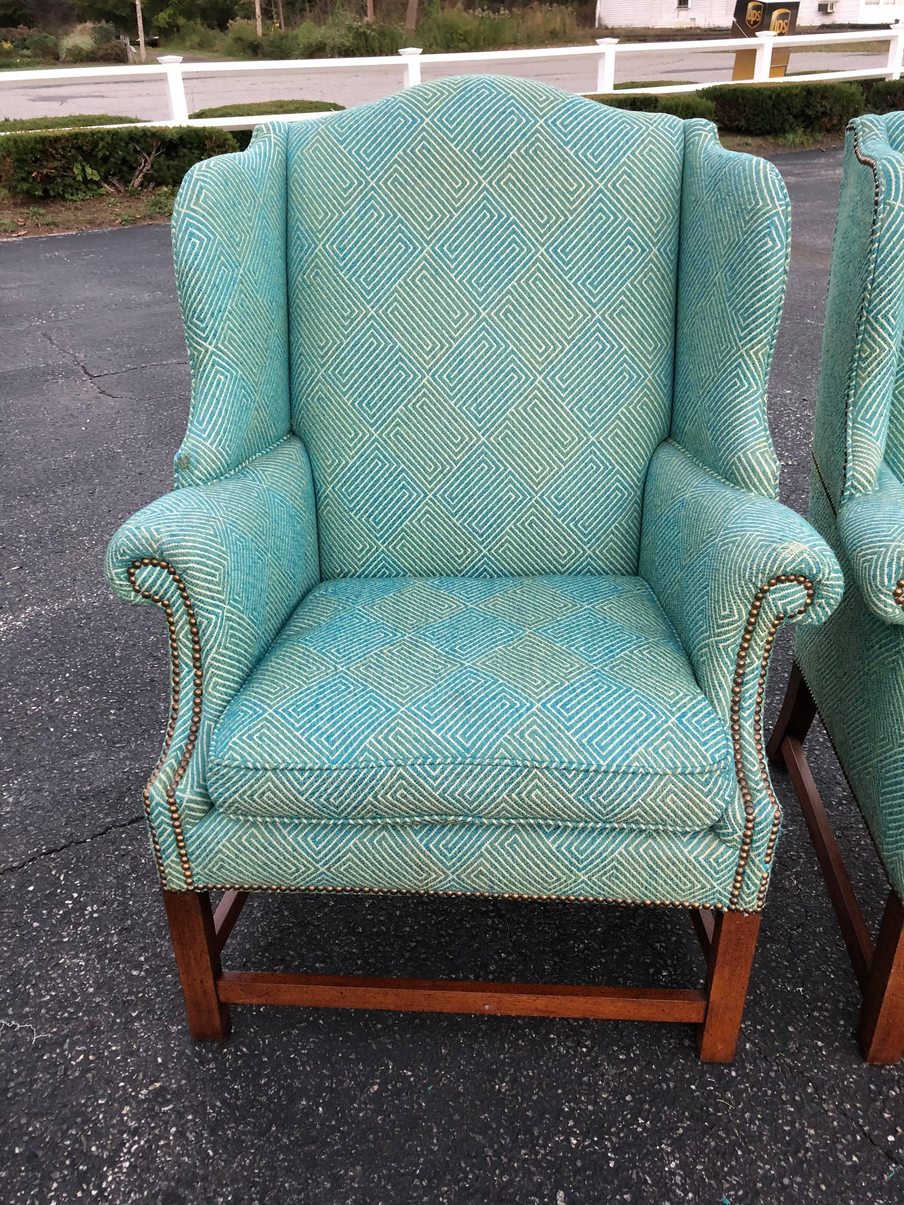 Henredon Chair Pair Of Henredon Wing Back Chairs