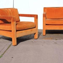 Orange Upholstered Chair Staples Best Ergonomic Parsons Lounge Chairs In The Style Of Milo Mid Century Modern Baughman For