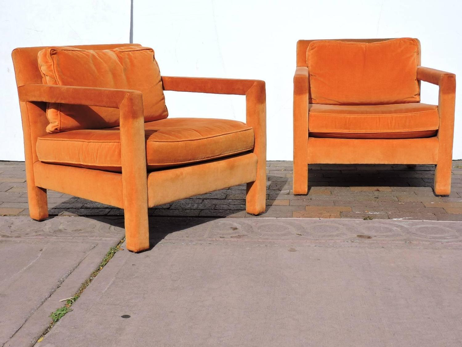 orange parsons chair air accessories upholstered lounge chairs in the style of