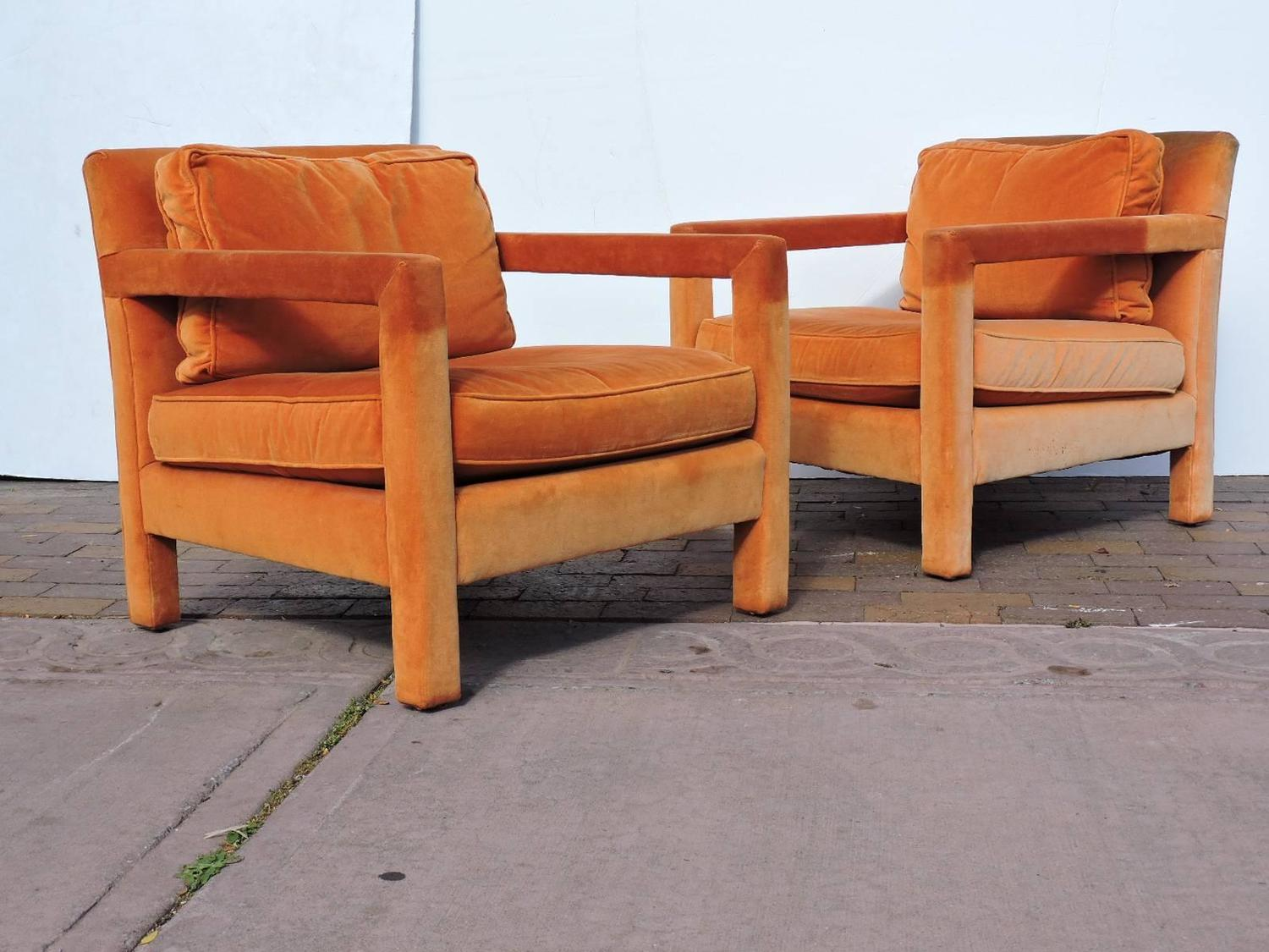 orange parsons chair pub table and chairs 3 piece set upholstered lounge in the style of