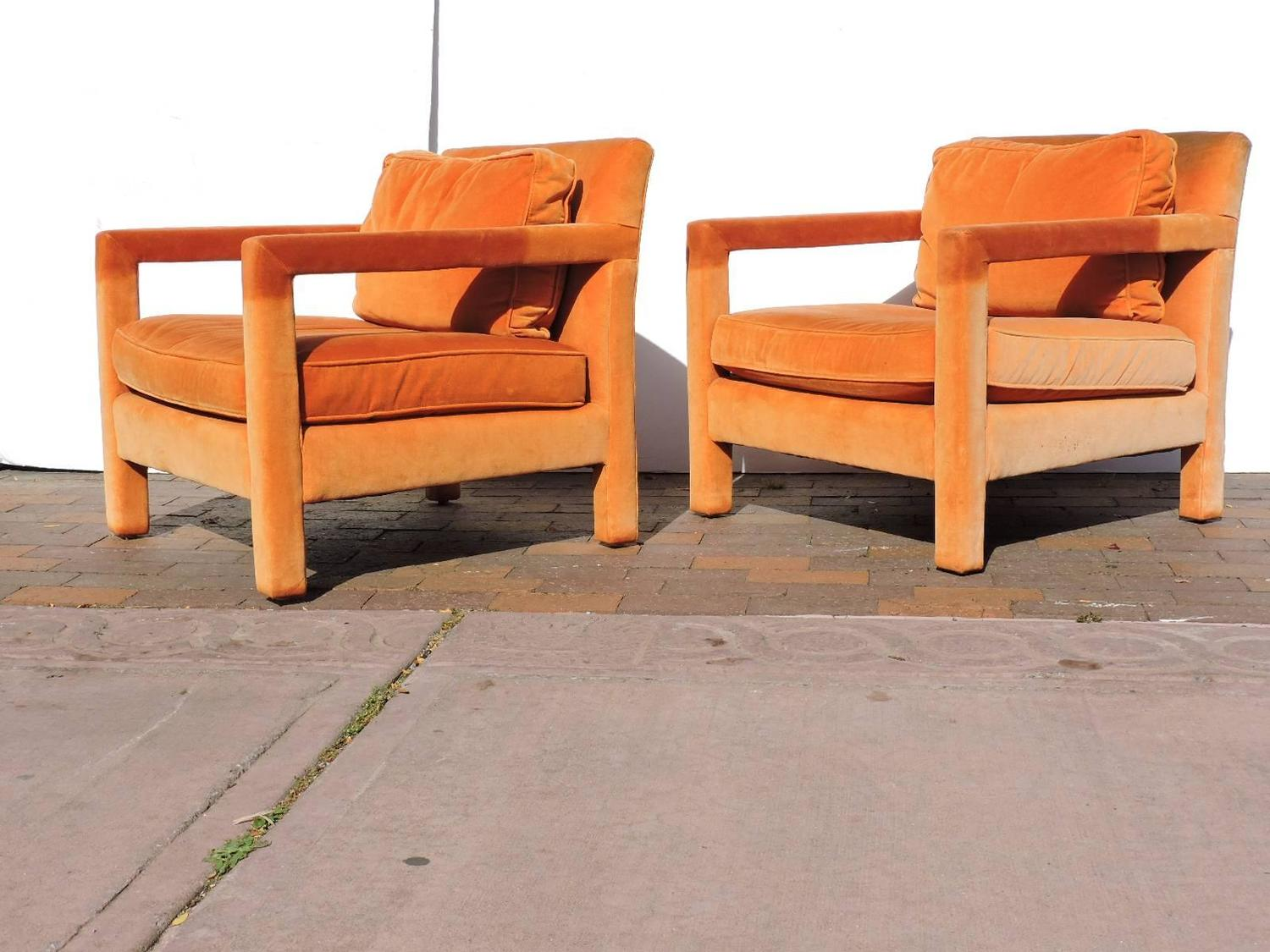 orange parsons chair plus size folding chairs uk upholstered lounge in the style of