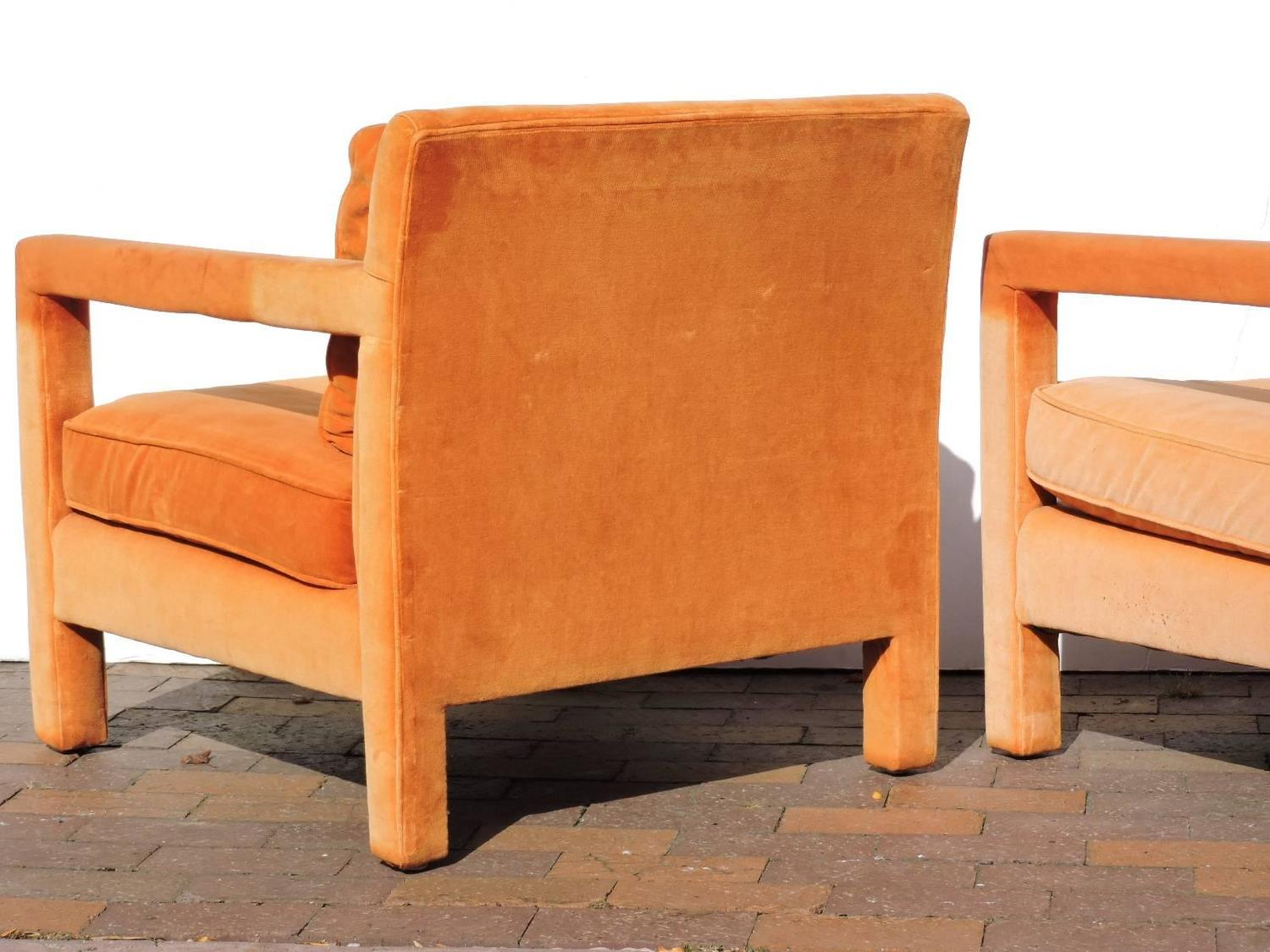 orange parsons chair fold up shower with arms upholstered lounge chairs in the style of