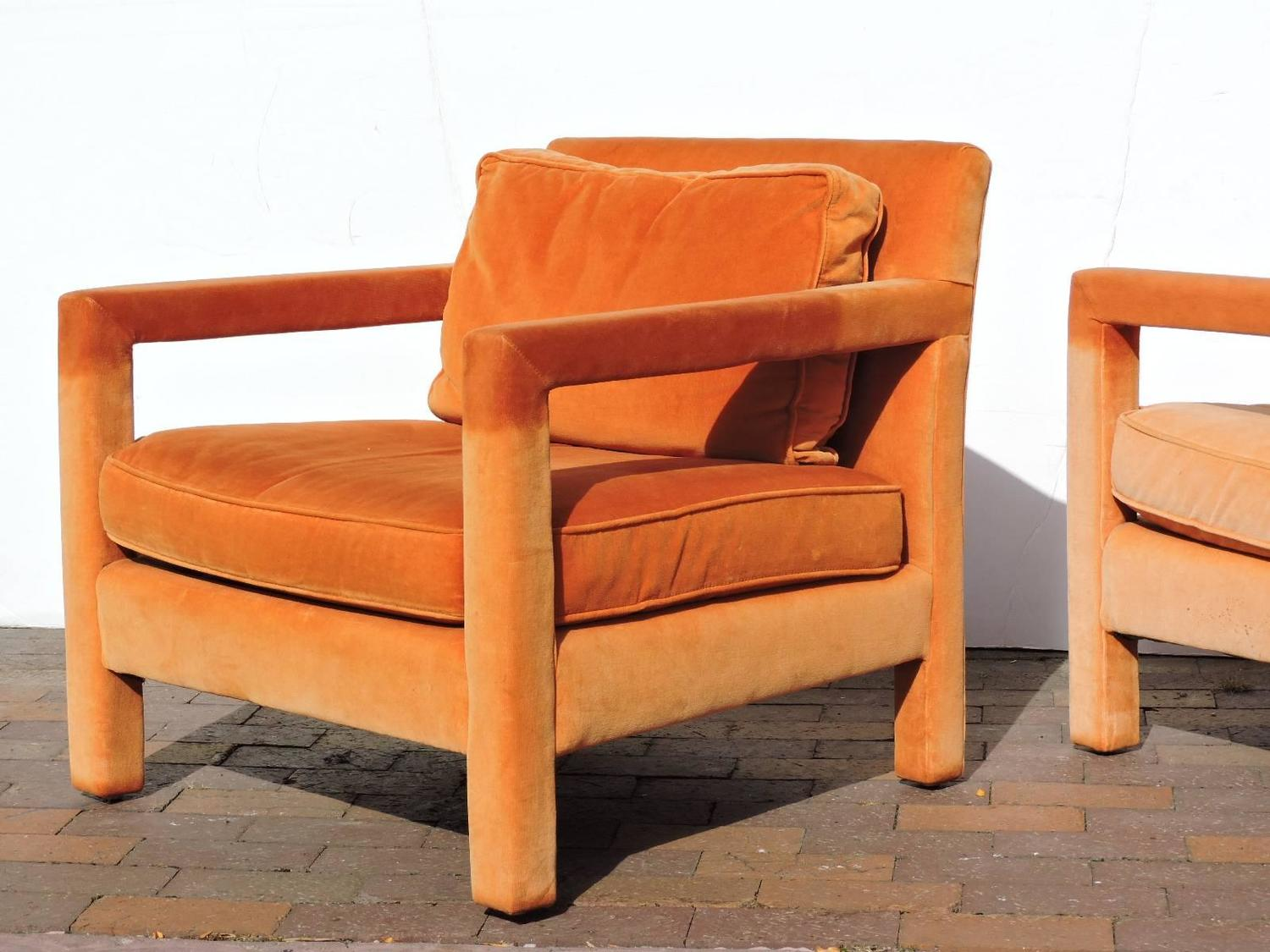orange parsons chair recliner lift rental upholstered lounge chairs in the style of