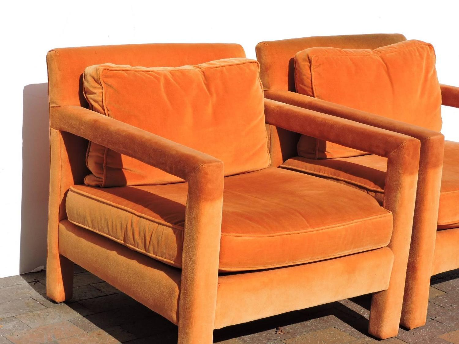 orange parsons chair seat webbing straps upholstered lounge chairs in the style of